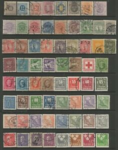 SWEDEN FROM 1872 GOOD QUALITY GENERALLY FINE USED COLLECTION INC 6 ORE MAUVE