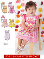SEWING PATTERN! MAKE BABY GIRL SUMMER CLOTHES! ROMPER~DRESS~HAT! PREEMIE~24 LB