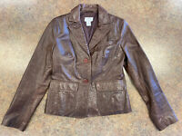 Ann Taylor Loft Women Brown Animal Print Fall Casual Leather Jacket Size 4P