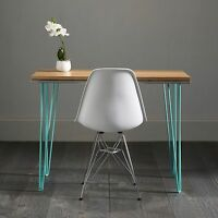 Industrial Hairpin Table / Desk With Unique Turquoise Inlay Design.