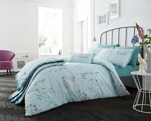Pretty Botanical Duvet Sets, Matching Bedspreads & Boudoir cushions - Duck Egg