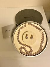 "Certificate*. 18"" Classic Light Lilac *Majorica Set Of Pearls*New With"