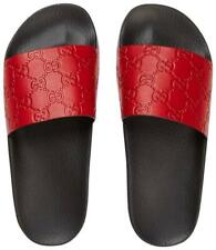 Gucci Women's Micro GG Signature Red Leather Slide Sandal; 41/US 10 - NEW
