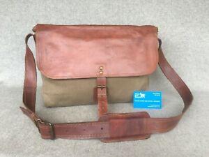"Waxed Canvas Satchel Bag Goat Leather 13"" MacBook WCS14 Handmade Laptop YKK Zip"