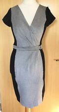 French Connection Dress 12 Grey Jersey Faux Wrap Work Office Career Summer