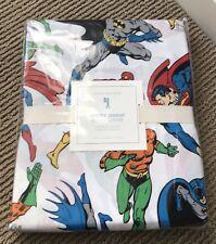 NEW Pottery Barn Kids JUSTICE LEAGUE Twin Duvet BATMAN SUPERMAN FLASH AQUAMAN
