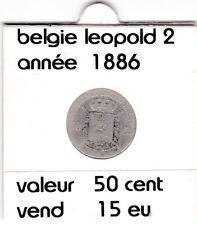 BF 1 )pieces de 50 cent belgie  1886 leopold 2