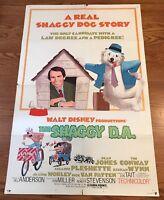 "THE SHAGGY D.A. movie poster 27""x41"" folded 1977 WALT DISNEY FILM COMEDY"
