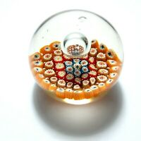 """VTG Art Glass Orange Millefiori Floral Paperweight Controlled Bubble 3"""" Tall"""