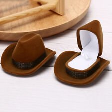 Cowboy Hat Shape Velvet Display Gift Box Jewelry Case For Necklace Earring Ring^