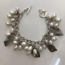 Silpada Freshwater Pearl Leaf Charm Cha Cha 925 Sterling Silver Bracelet B1631