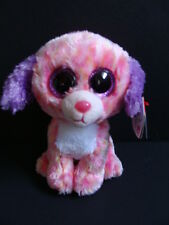 """NWT TY Beanie Boos 6"""" LONDON Dog Boo Claire's Exclusive Glitter Purple Eyes NEW"""