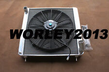 3 core aluminum radiator & fan for Jaguar XKE Series 1 S1 3.8L manual