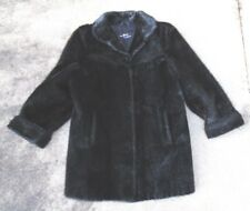 fine womens real black fur coat Otto D Madson Copenhagen Greenland label size 38
