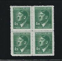 MNH Stamp BLOCK  Adolph Hitler  4.20 Kr  Occupied B a M WWII 1944 Third Reich