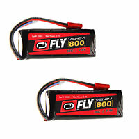 Venom Fly 30C 2S 800mAh 7.4V LiPo Battery with JST Plug x2 Packs