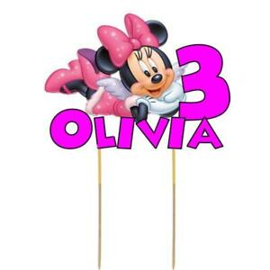 Minnie Mouse Cake Topper Personalised Kids Birthday Party Decoration Image Card