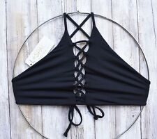L*SPACE SWIMWEAR BLACK NIKKI LACE-UP HIGH NECK SEXY BIKINI TOP (M) NWT $88