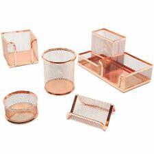 5 Piece Rose Gold Mesh Desk Organizer Office Supplies Accessories Décor Set