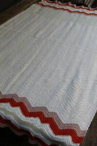 Vintage Handmade Crochet White Afghan/Throw Beige & Orange Zig Zag Edges