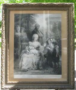 rare gravure XIXème, LaReine Marie Antoinette à Trianon en cie du Roi et Dauphin