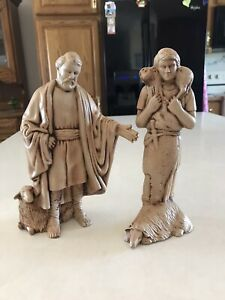 Vintage Ceramic Mold Nativity 2 Shepherds Beige Lot of 2 Unbranded