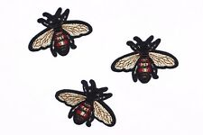 Small Bee Patches (3 pcs) Gucci Style Embroidered Bees Iron On Patch Appliques