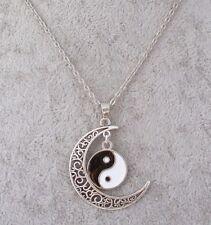 Tibetan Silver Crescent Moon Yin & Yang Enamel Pendant Necklace.Handmade