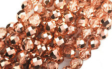 10 Copper Metallic Faceted Fire Polished Round Glass Beads 8MM