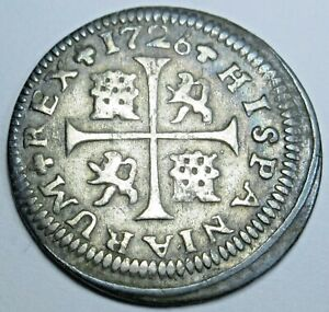 1726 Spanish Silver 1/2 Reales Antique 1700s Colonial Cross Pirate Treasure Coin
