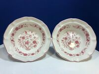 Hankook Seine Pink Rim Cereal Bowl Dish - Scalloped Pink Rim - Set of 2 - Korea