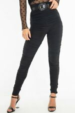 Ladies Slinky Ruched High Waist  Womens Leggings - Black Size 6-12