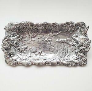"Vintage 1994 Arthur Court Aluminum Frogs Lotus Tray Serving Platter 11.5"" Long"