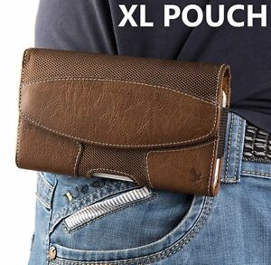 for XL LARGE Phones - BROWN Suede Pouch Holder Belt Clip Loop Holster Case Cover
