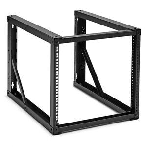 NavePoint 9U Wall-Mount Open Frame Network Rack 24.81 Inch Depth, AV Rack, Black