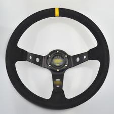 "350mm /13.8"" Deep Dished Racing Suede Alloy Black Aftermarket Steering Wheel NEW"