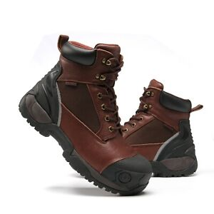 Work Boots for Men Composite Toe Molded Rubber Waterproof Safety Working Shoes