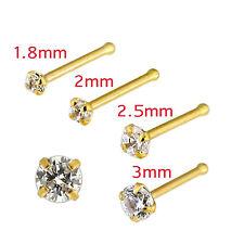 Nose Stud Bone 9K Carat Genuine Yellow Gold With Gem 20G  3mm Gem