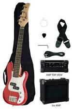 "Raptor 38"" Kid's Junior Electric P Bass Package - Red w/ Amp Bag Cable Pick"