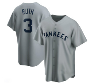 Babe Ruth New York Yankees Player Jersey - Gray Fanmade XS-4XL