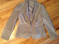 SUEDE LEATHER Women's German Designer Blazer Fitted Taupe JACKET 40 10 M Mint