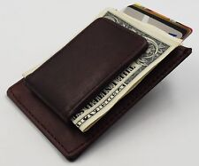 Mens Leather Simple Magnetic Money Clip Multi function Popular Wallet Brown