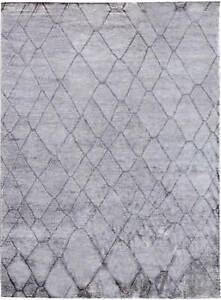 Contemporary Geometric Silver Gray Handmade Rug N11333