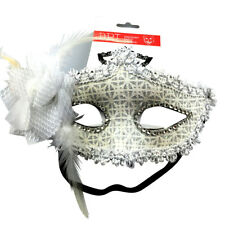 Masquerade mask with white flower