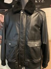 GUESS Men's Leather Bomber Jacket Black Coat 118A2483 Size M