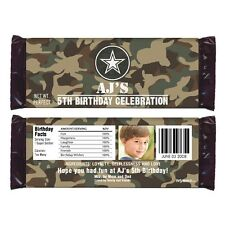 12 Camouflage Army Soldier Birthday Party Favors Personalized Candy Wrappers
