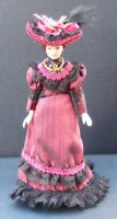 1:12 Scale Victorian Lady In A Burgundy Dress With Stand Dolls House Miniature C