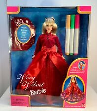 Very Velvet Barbie W/3 Stickers, 3 Markers Blonde W/Crown & Red Dress New in Box