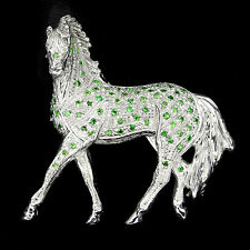 Sterling Silver 925 Large Genuine Natural Rich Green Tsavorite Horse Brooch