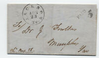 1850 Jackson TN black CDS stampless paid 5 to Memphis [JP.85]